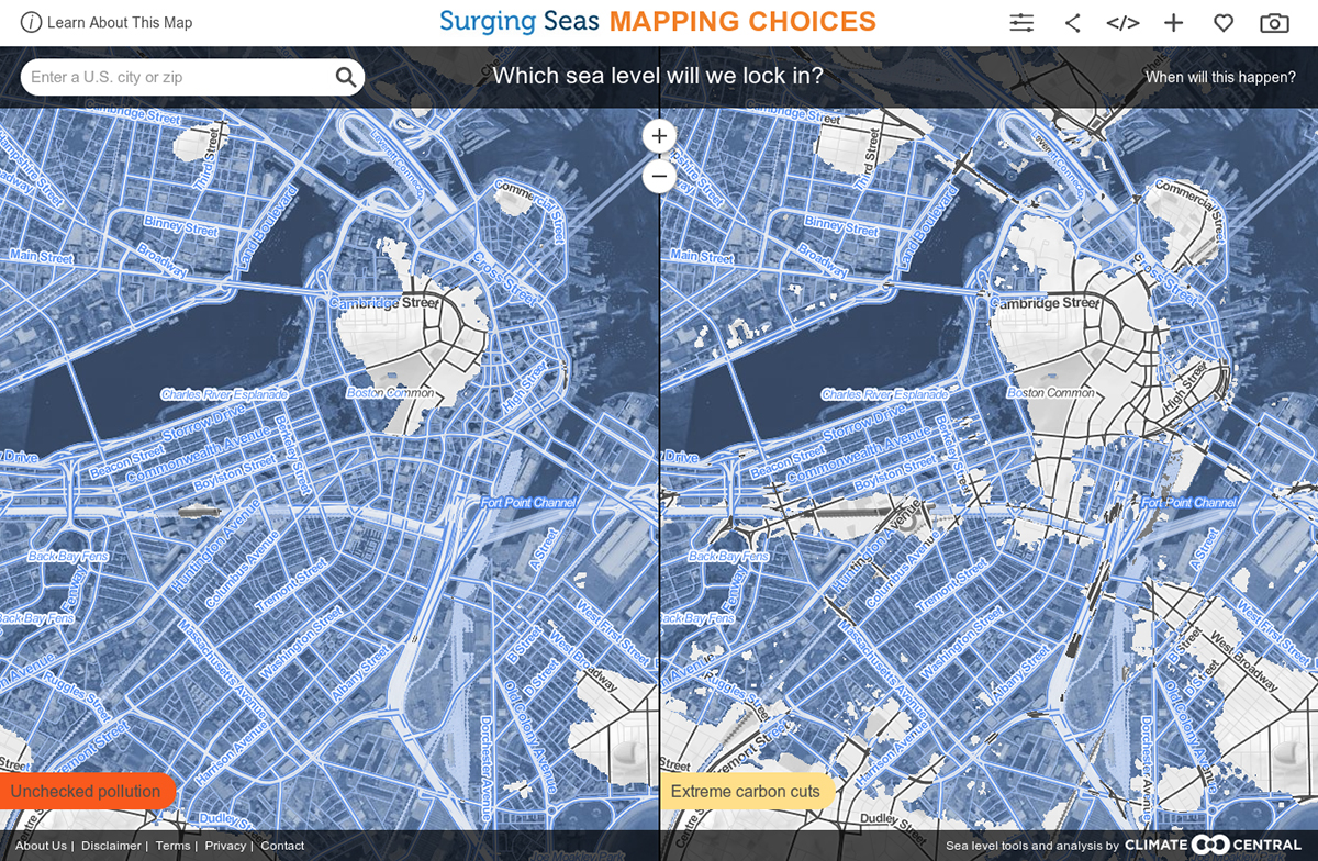 Small Kitchen With Island Map Shows Boston Might Go Underwater After 2100