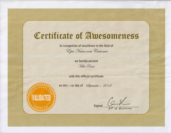 Earn a Certificate of Awesomeness Tell Your Friends about Our - i owe you certificate