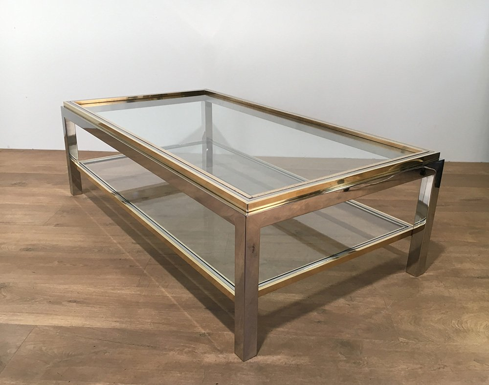 Couchtisch Modern Gold Vintage Glass & Brass Coffee Table By Willy Rizzo, 1970s
