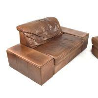Vintage Sectional Brown Leather Living Room Set for sale ...