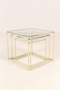 Mid-Century Modern Metal and Glass Nesting Tables by Max ...