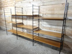 Imposing Mid Century Large Teak Metal Wall Shelving Unit 1960s 3 Metal Wall Shelf