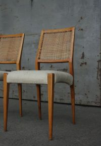 Mid-Century Cherrywood, Wicker, & Wool Dining Chairs, Set ...