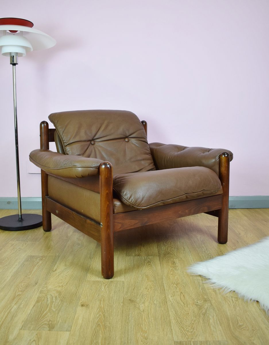 Mid Century Norwegian Brown Leather Lounge Chair 1970s