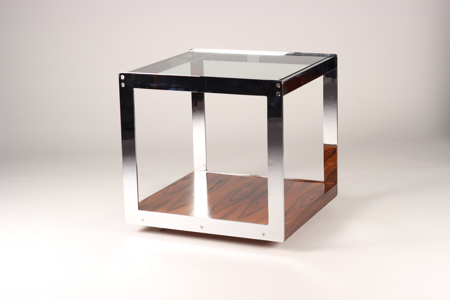 Table Appoint Verre Table D Appoint Mid Century En Palissandre Chrome Et Verre Par Richard Young Pour Merrow Associates