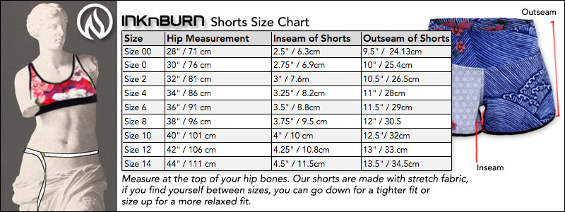 Size Chart INKnBURN Running and Workout Gear