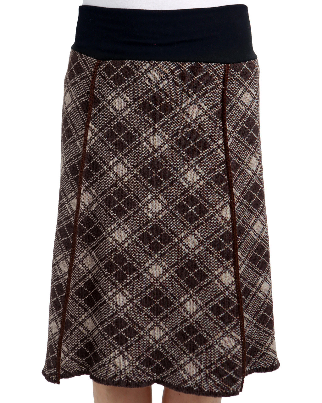 Plaid Taupe Plaid 4 Panel Skirt Coffee Taupe