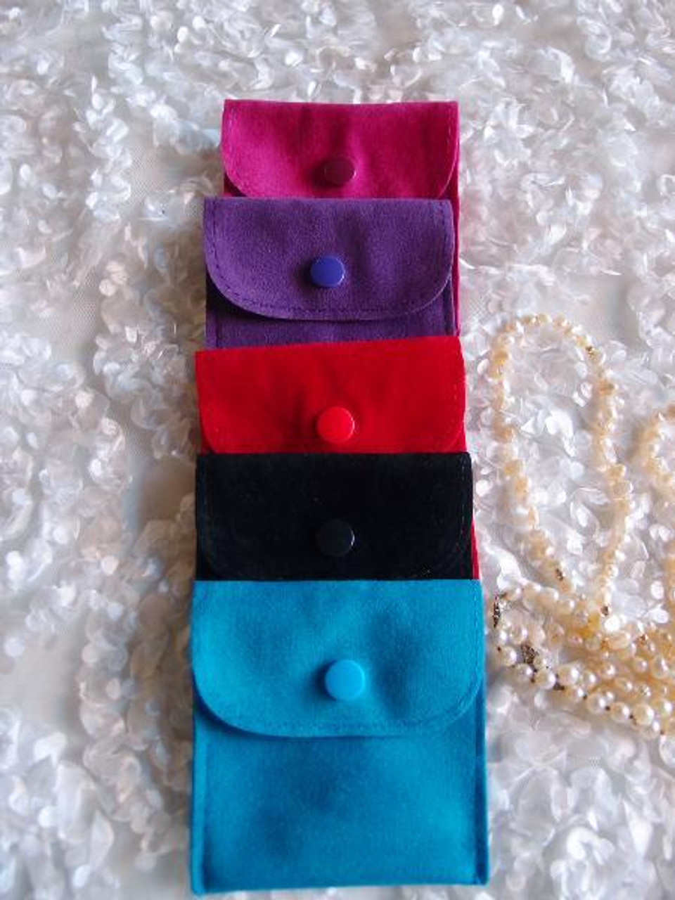 Wholesale Velvet Jewelry Pouches Blue Velvet Flapover Jewelry Pouch With Snap Fastener 3 X 3
