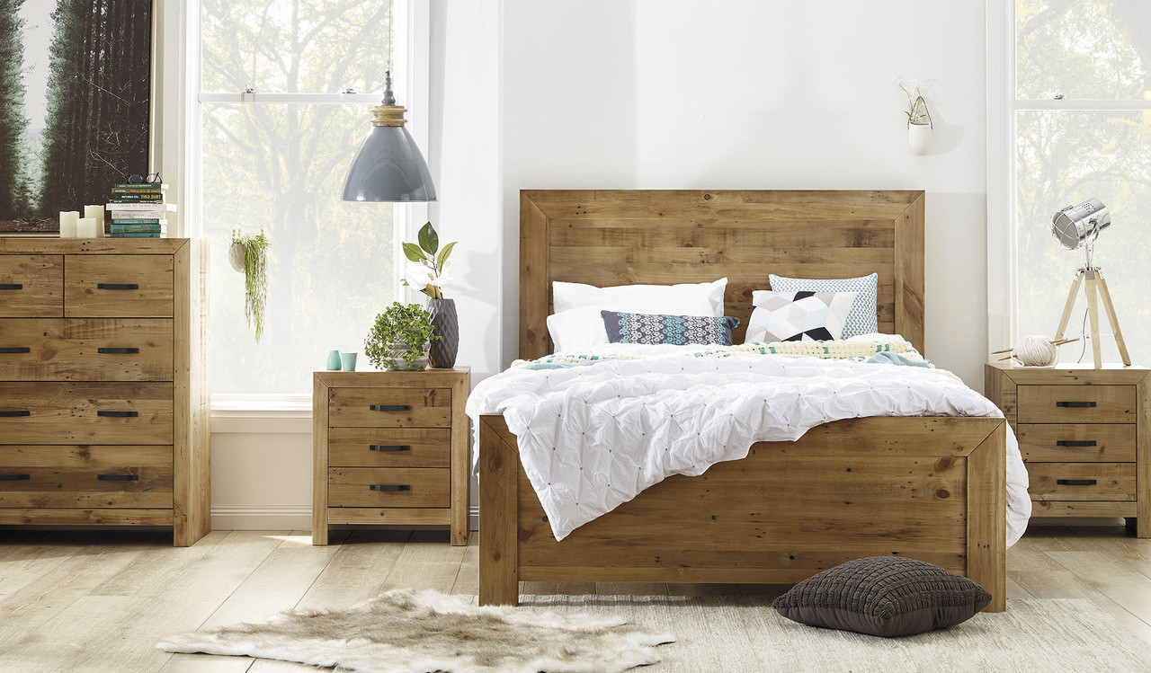 Focus On Furniture Sofa Bed Rustic 4 Pce Tallboy Bedroom Suite