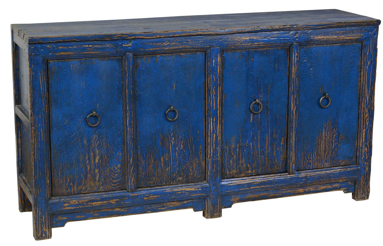 Buffet Sideboard Blue Antique Blue 4 Door Buffet