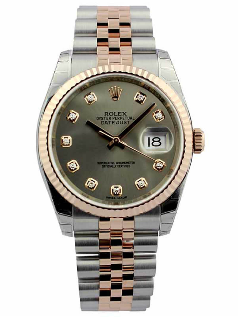 Steel Rolex Rolex Datejust 36 Steel Dial Diamond Fluted Jubilee Ss Rg Watch 116231