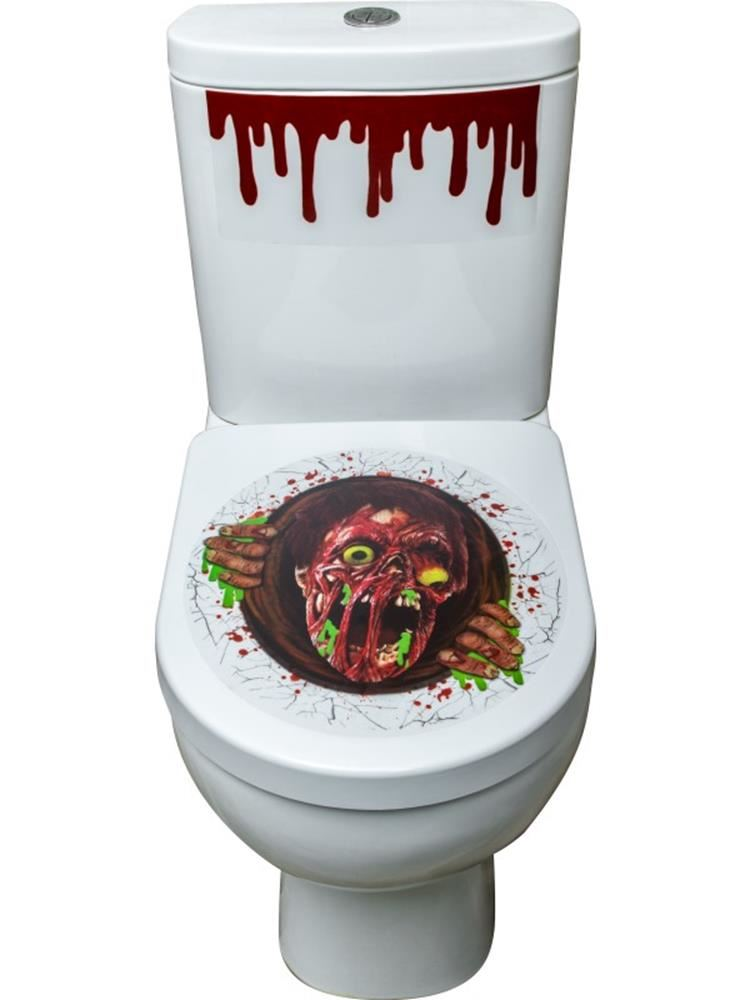 Toiletset Accessoires Zombie Portal Toilet Seat Stickers Halloween Fancy Dress Accessories
