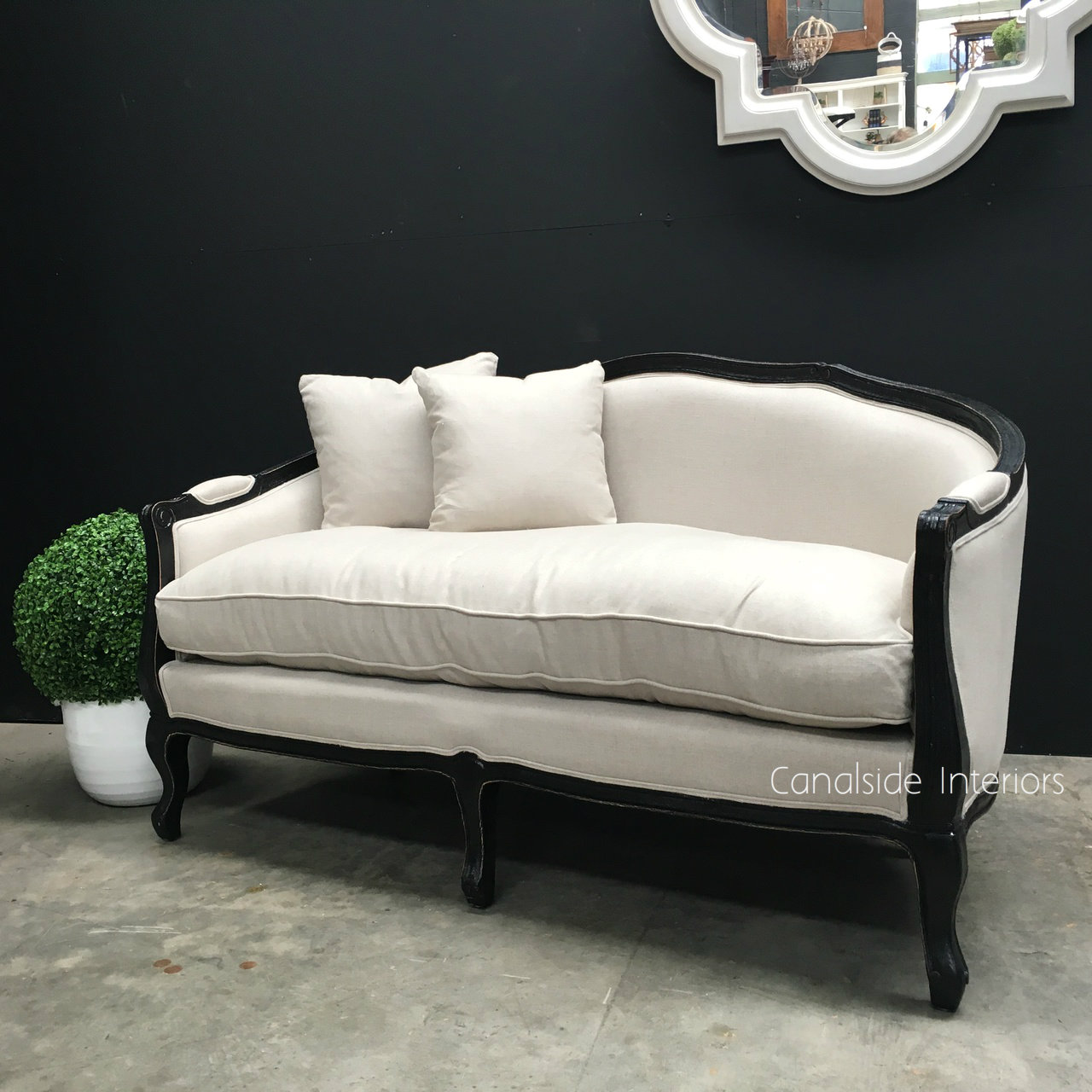 Canape Sofa Arya 2 5 Seater Canape Sofa Distressed Black With Cream Upholstery Sold Out More Coming Soonc