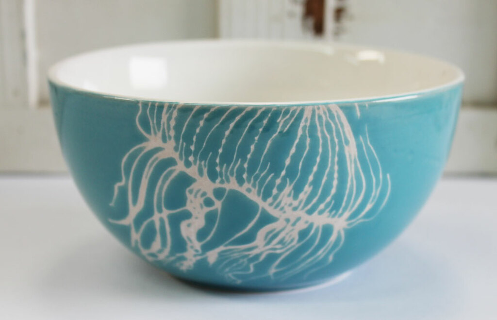Ceramic Jellyfish Cereal Or Salad Bowl Coastal Kitchen