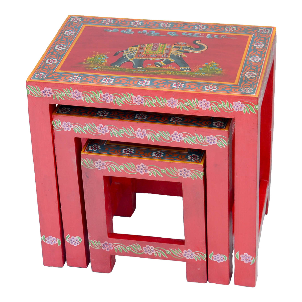 Nest Of 3 Hand Painted Red Elephant Tables Fair Trade Present Company