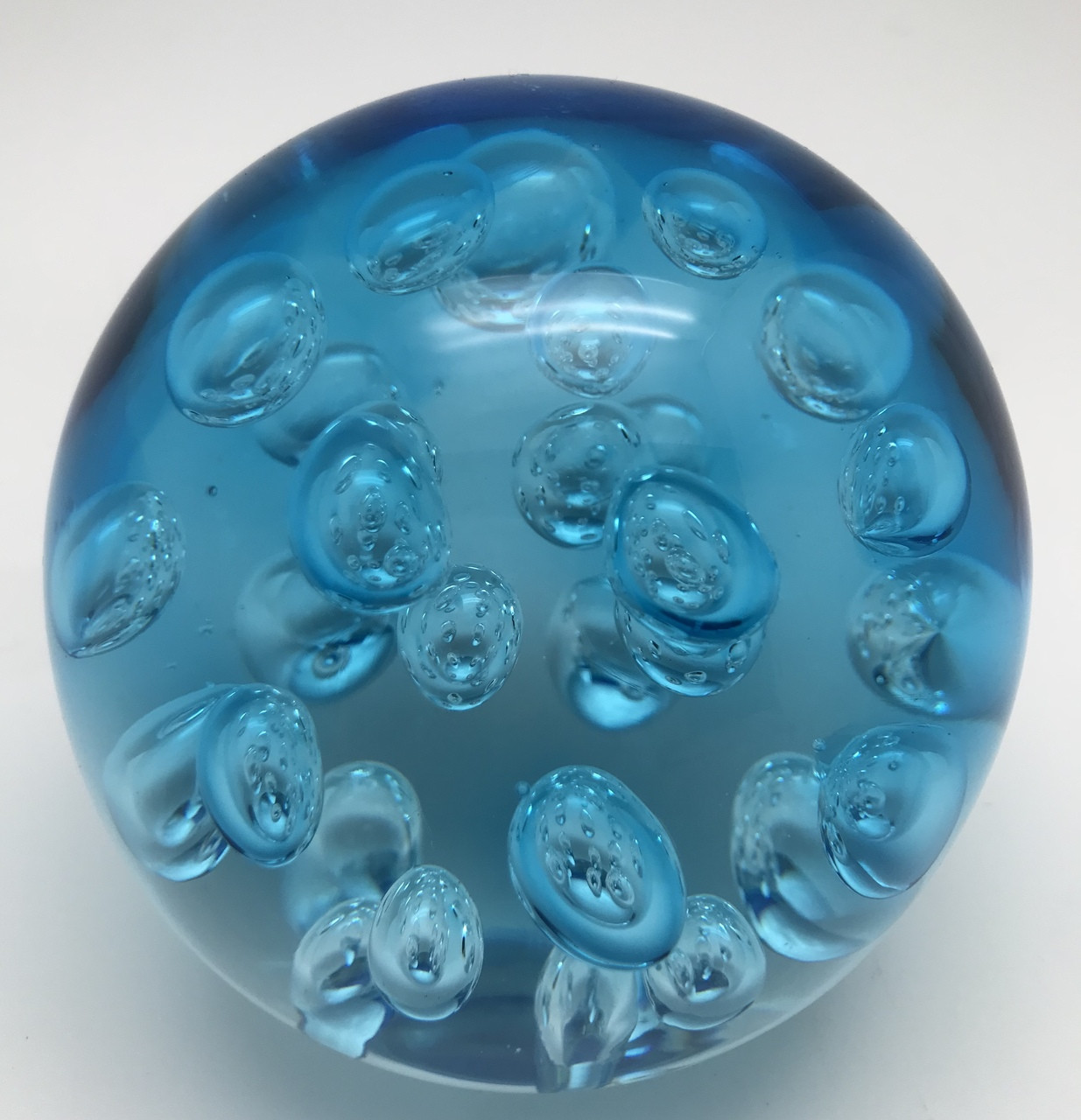 Aquarine Spa Large Spa Bubbles Paperweight Aquamarine Handcrafted Blown Glass Art