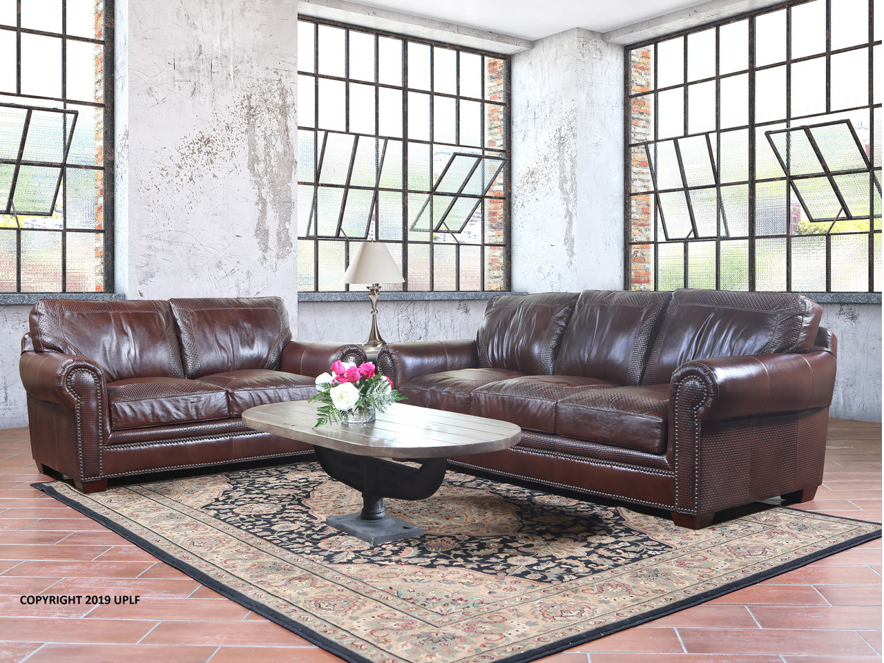 Made Sofa Shop 9650 Basket Weave Brown Leather Sofa