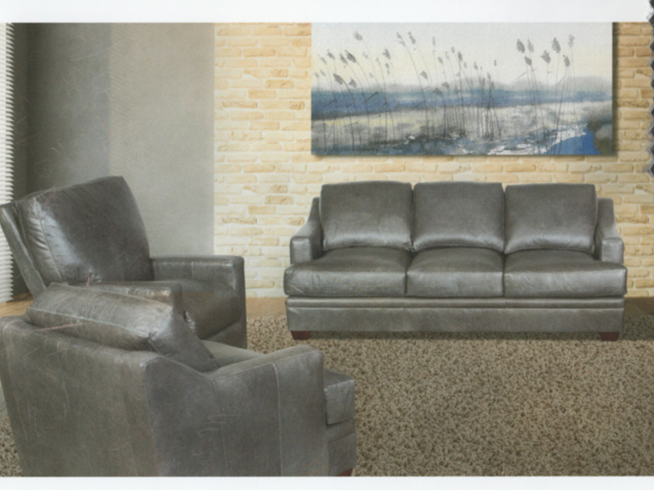 Made Sofa Shop 19nn Steel Grey Leather Sofa