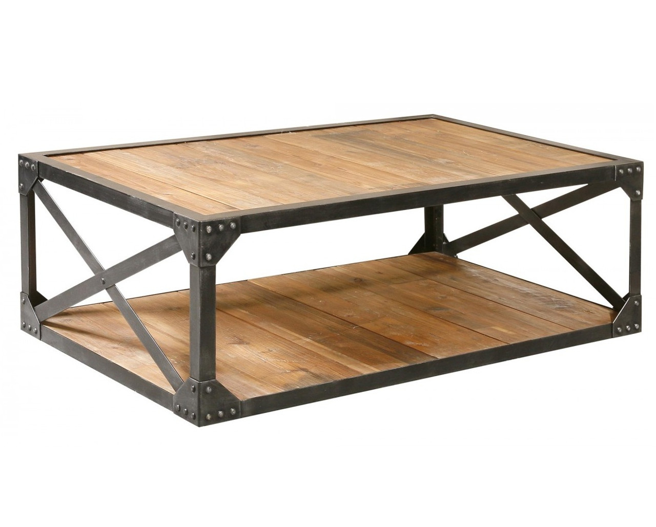 Industrial Coffee Table Industrial Metal And Wood Coffee 51 Quot Table Rectangular