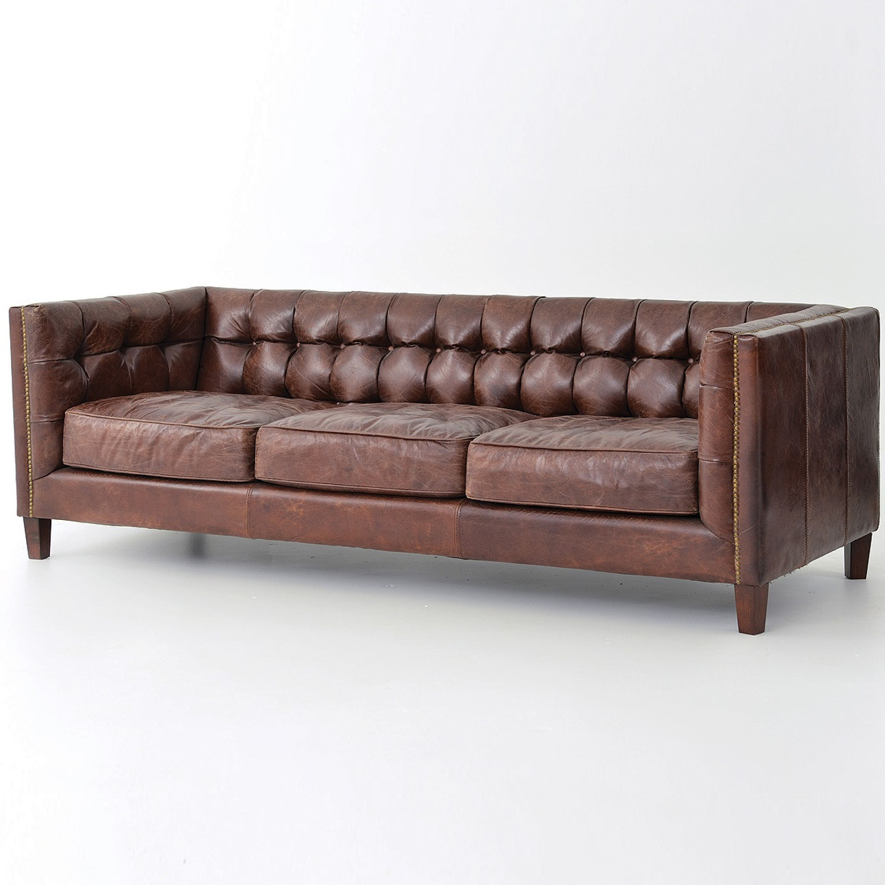 Bettsofa Vintage Abbott Vintage Cigar Tufted Leather Sofa