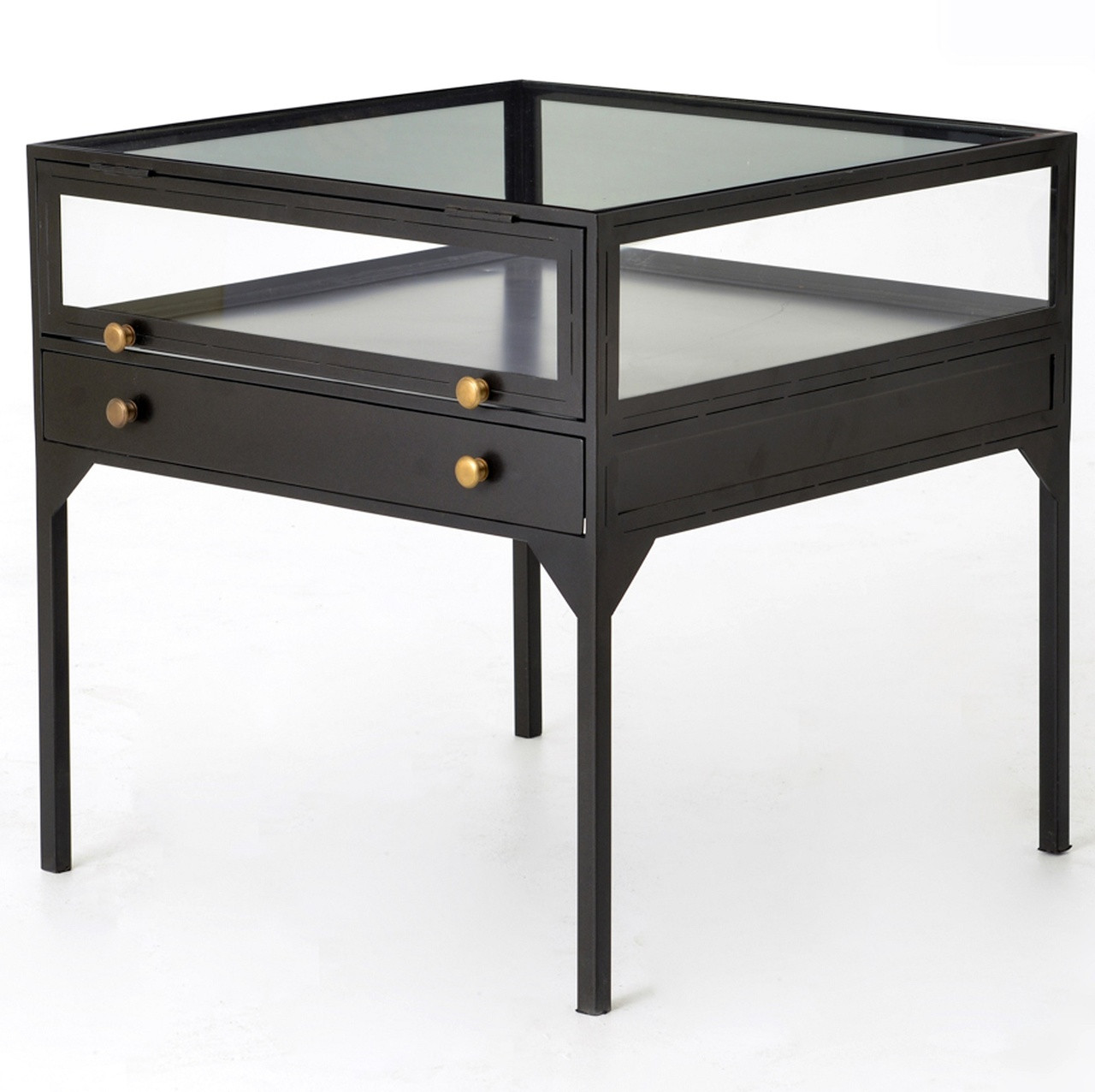 Black End Tables With Drawer Shadow Box Industrial Metal And Glass Side Table