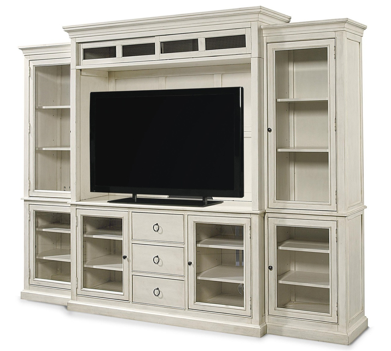Wood Wall Behind Tv Country Chic Maple Wood White Tv Entertainment Wall Unit