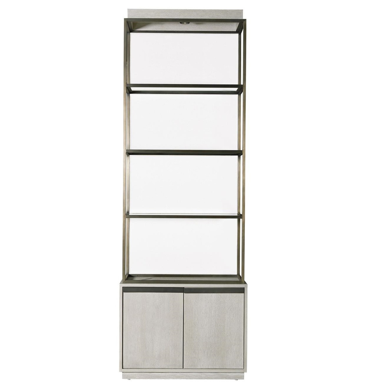 Etagere Metal Modern Grey Oak Wood Bronze Metal Etagere Bookcase