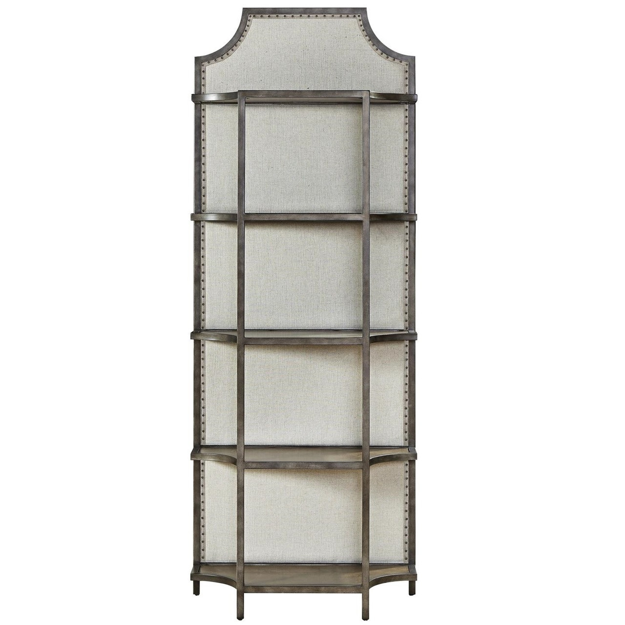 Etagere Metal Sojourn French Industrial Upholstered Back Metal Etagere