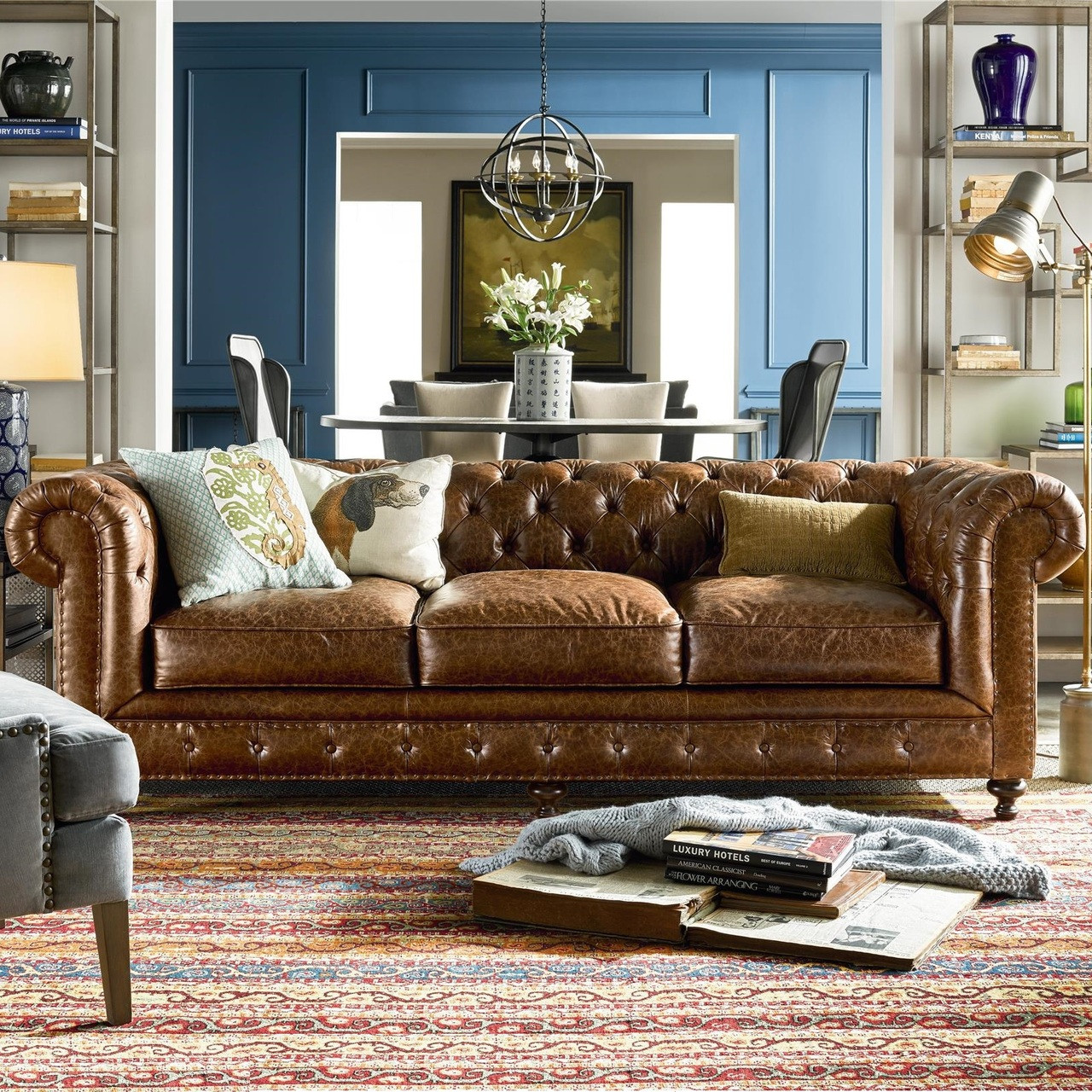Chesterfield Sofa Belgian 3 Cushion Tufted Saddle Leather Chesterfield Sofa