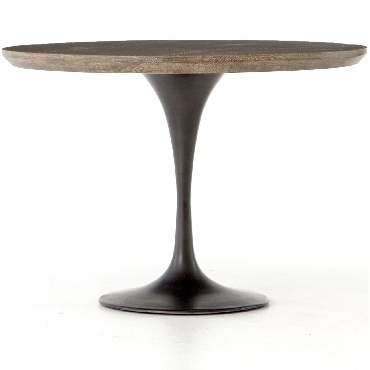 Tulip Table Aero Tulip Industrial Brass Clad Top Round Dining Table 42