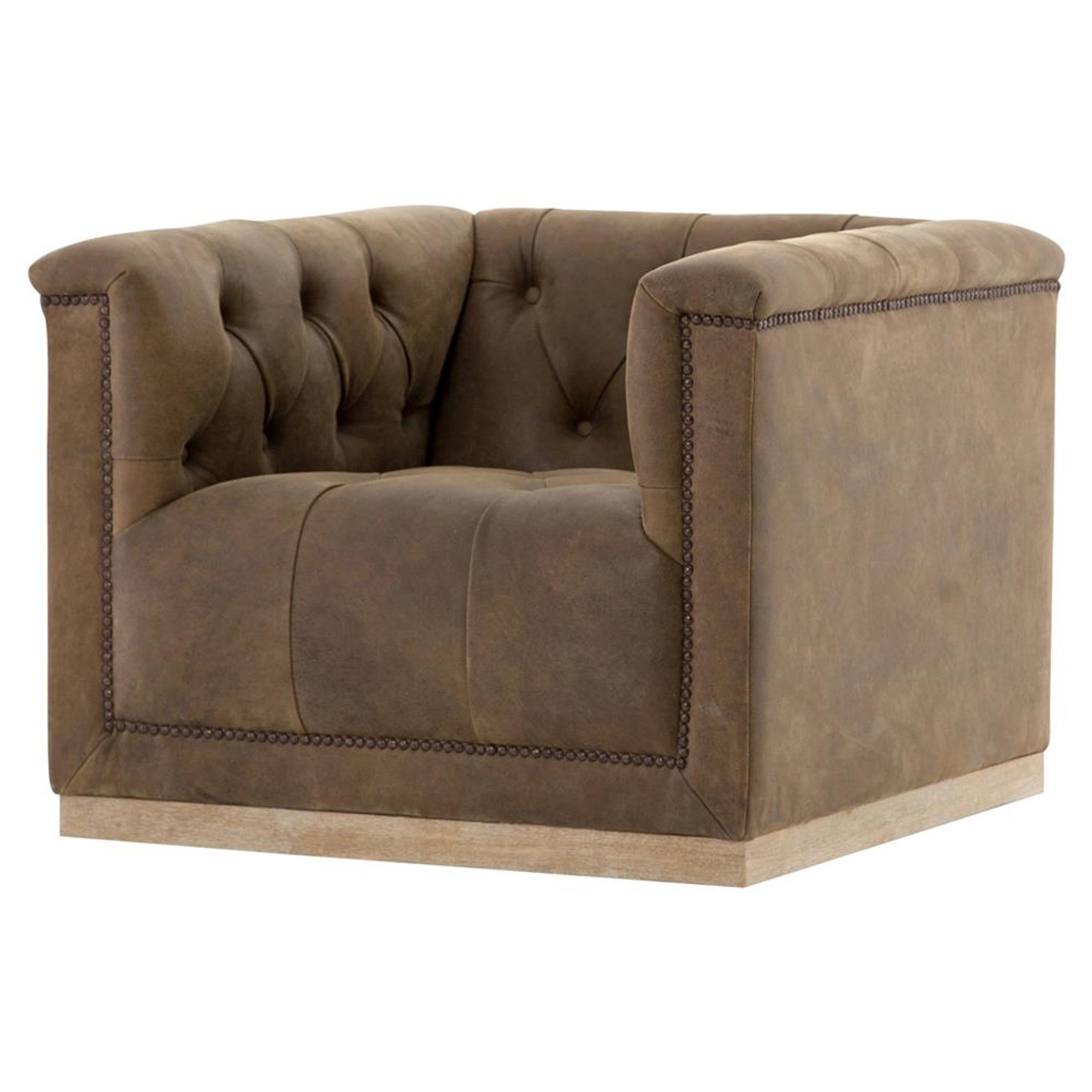 Maxx Distressed Tufted Leather Swivel Club Chair Zin Home