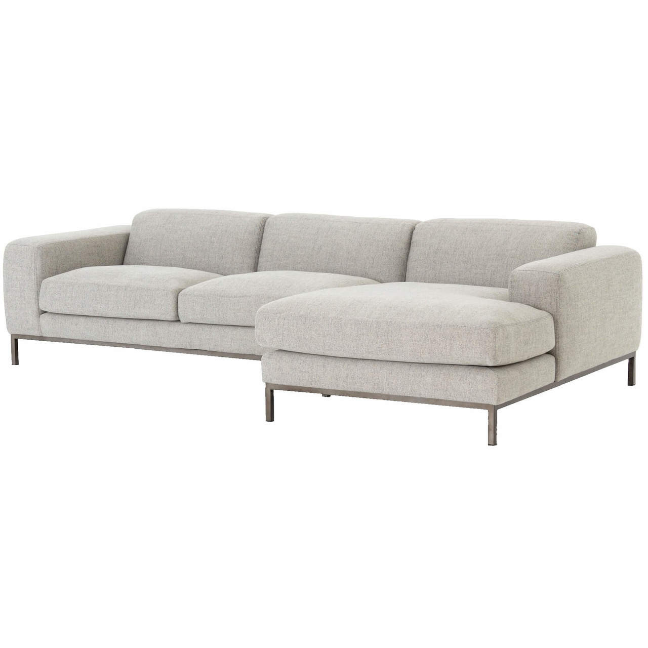 Benedict Modern Grey Fabric Right Facing Sectional Sofa 111