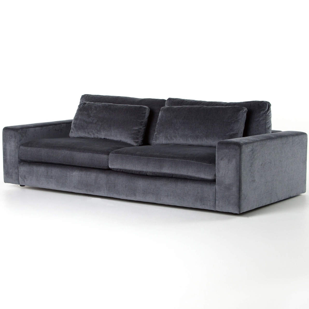 Contemporary Couch Bloor Contemporary Charcoal Grey Velvet Upholstered Sofa 98