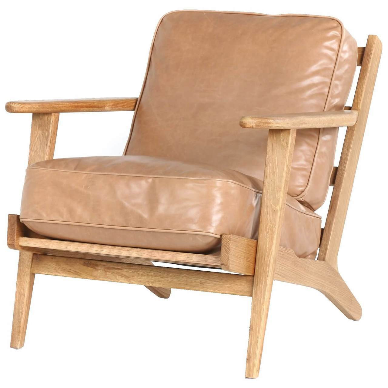 Leather Lounge Mid Century Modern Brooks Tan Leather Lounge Armchair