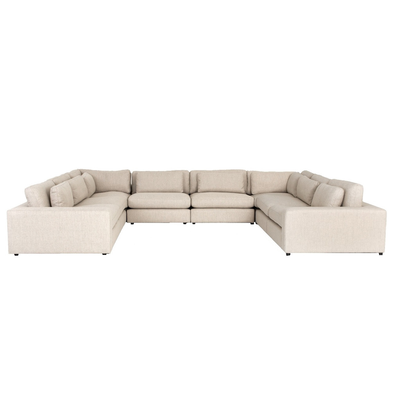U Sofa Bloor Contemporary Beige Linen 8 Piece U Shaped Sectional Sofa