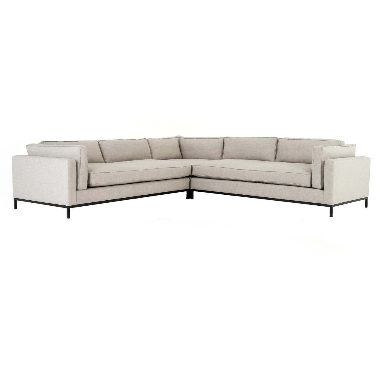 Grammercy Modern Neutral Fabric 3 Piece Corner Sectional Sofa 120
