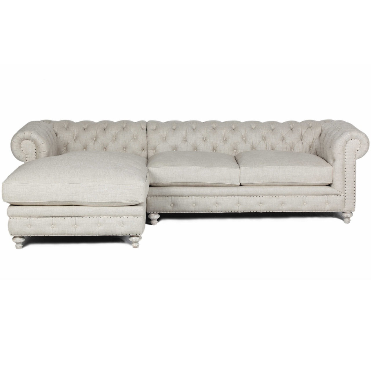Chesterfield Sectional Sofa Warner Tufted Linen Chesterfield Left Chaise Sectional Sofa