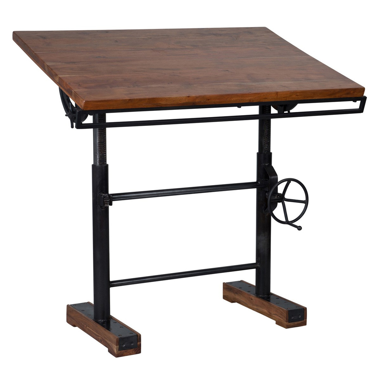 Adjustable Height Drafting Table Steampunk Industrial Crank Adjustable Standing Desk