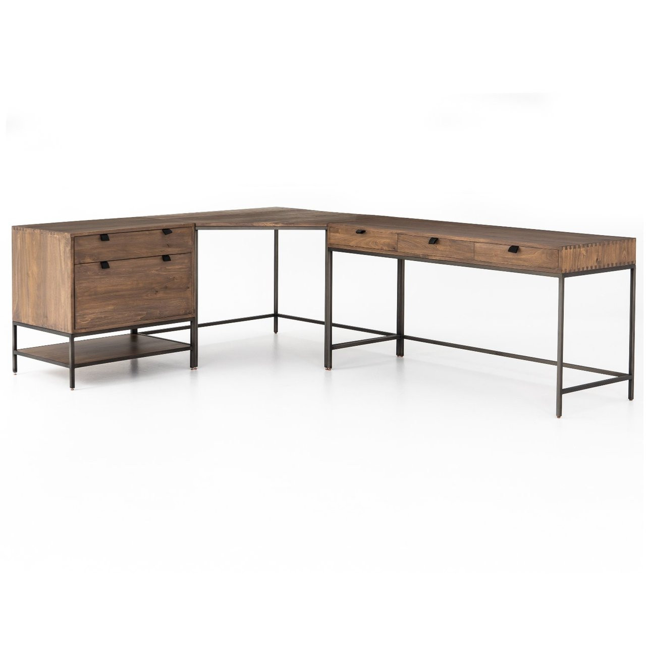 Desk With File Cabinet Fulton Industrial Modular Corner Desk With File Cabinet