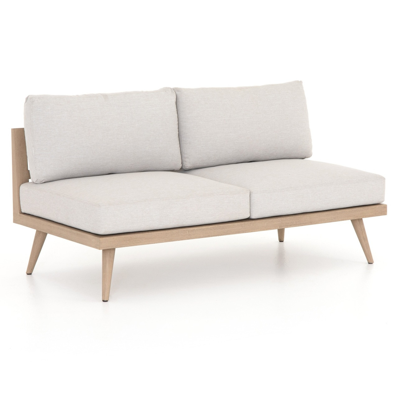 Sofa 60er Tilly Modern Brown Teak 2 Seater Armless Outdoor Sofa 60