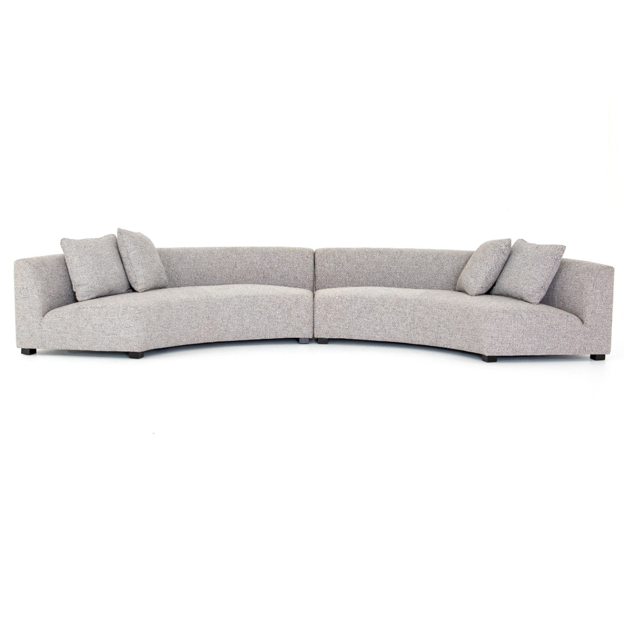 Curved Sofa Liam Modern Grey 2 Piece Curved Sectional Sofa
