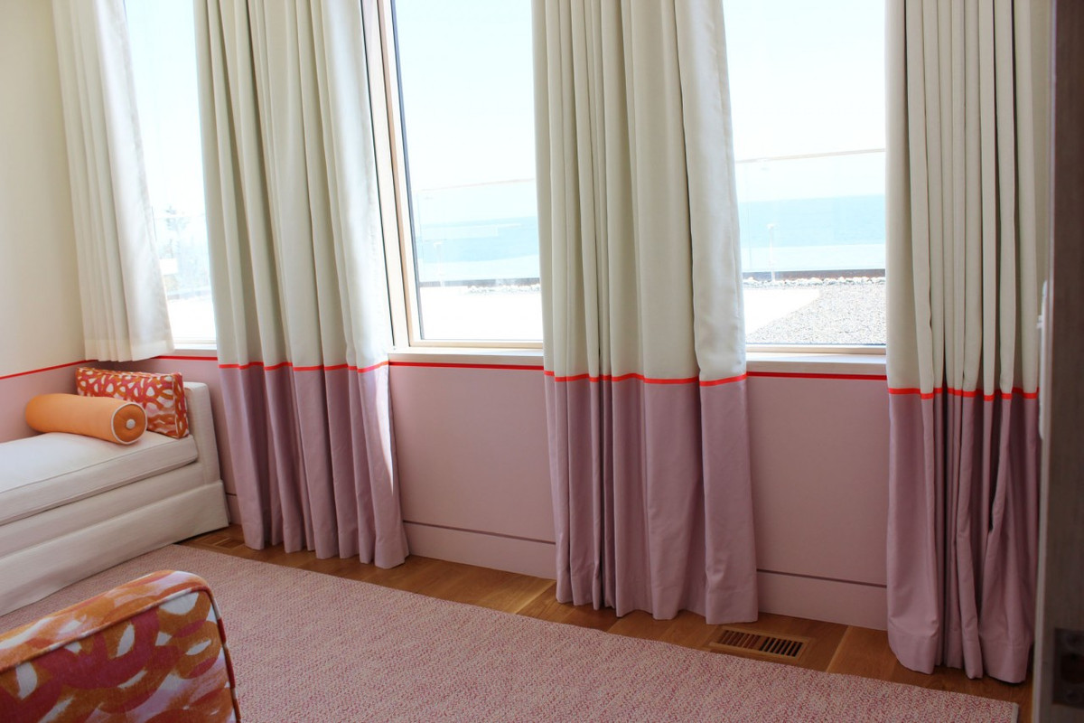 Ribbon Trim Curtains Girls Bedroom Custom Drapes With Border And Bed And Pillows In
