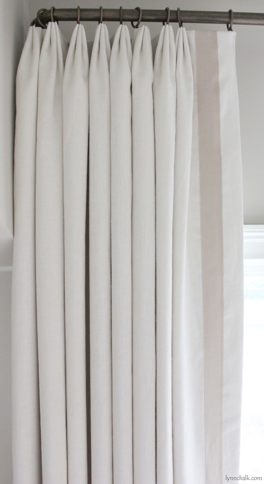 Ribbon Trim Curtains Custom Euro Pleated Drapes In Kravet Dublin Linen With Samuel Sons Grosgrain Trim Sand