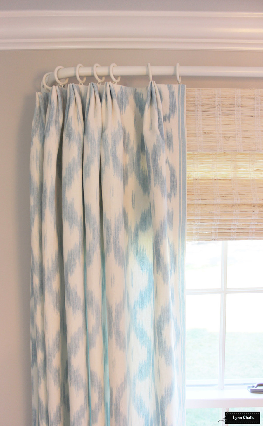 China Blue Curtains Schumacher Santa Monica Ikat Custom Drapes Shown In China Blue