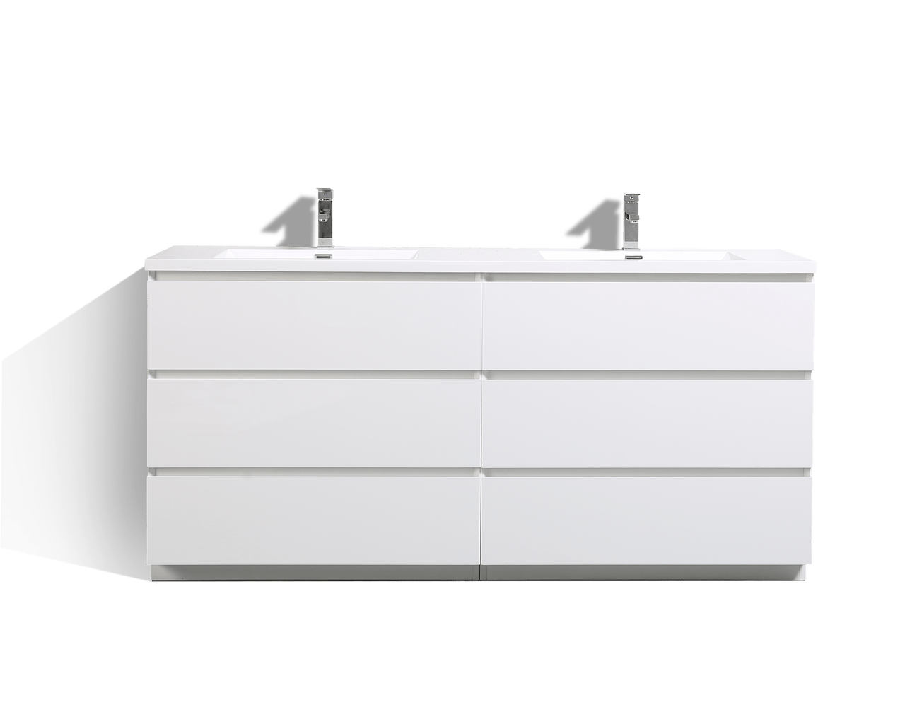 Bathroom Vanity 72 Double Sink Moa 72 Double Sink Gloss White Modern Bathroom Vanity W 6 Drawers And Acrylic Sink