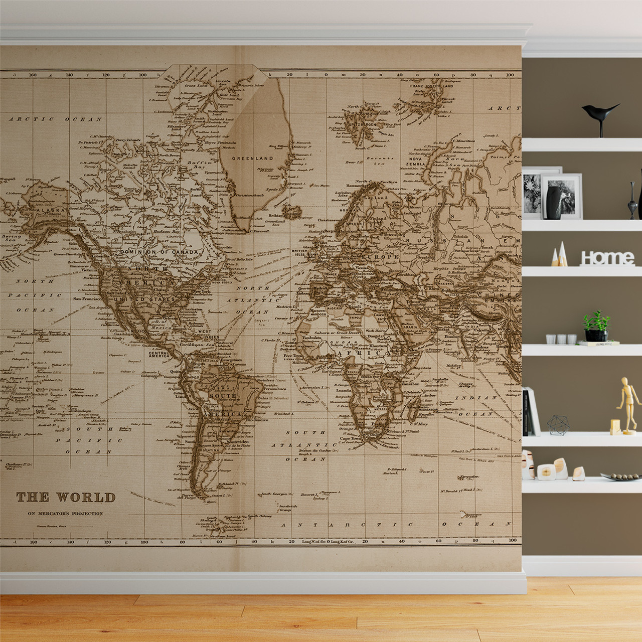 Vintage World Atlas Map Wall Mural Fabric Decal