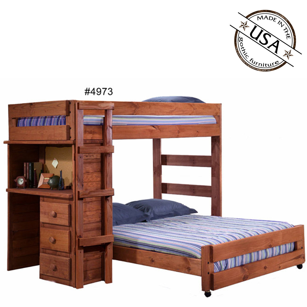 Bed With Desk Twin Full Loft Bed With Desk Solid Pine