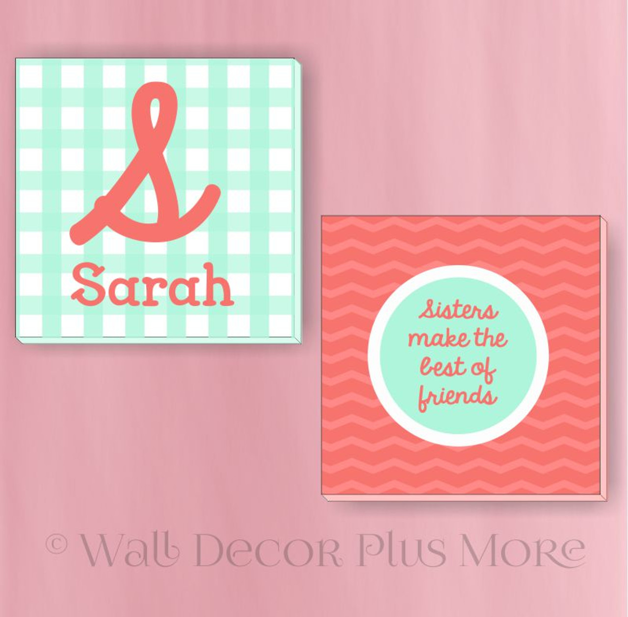 Sisters Name Set Of 2 Canvas Prints 14x14 Modern Art Girls Bedroom Decor
