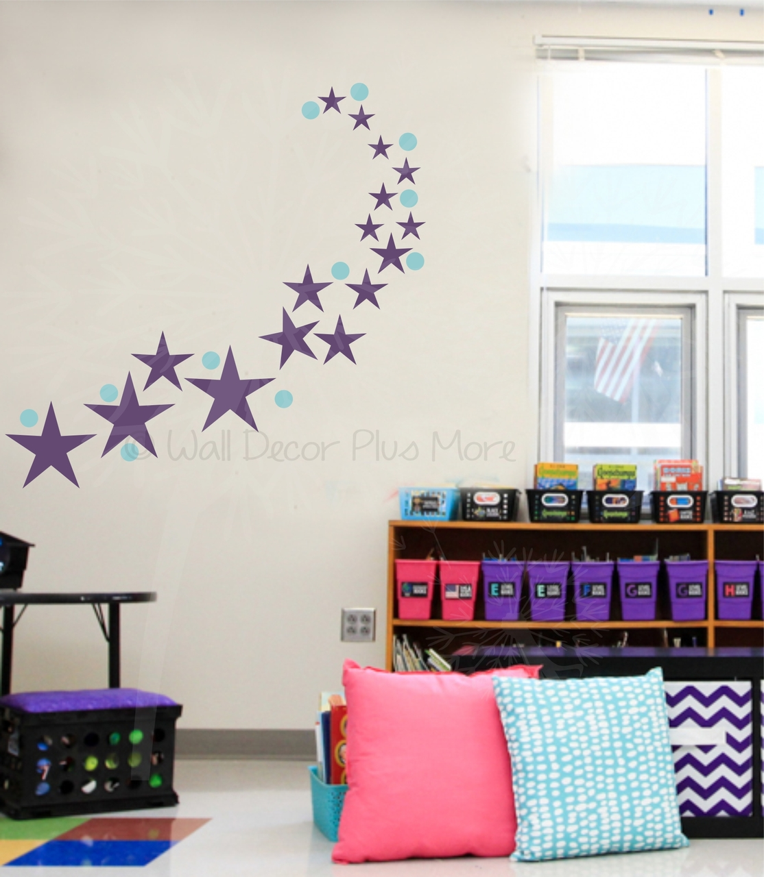 Stars Room Decor 3 Inch Polka Dots Vinyl Wall Stickers For Easy Kids Room Decor 28pc