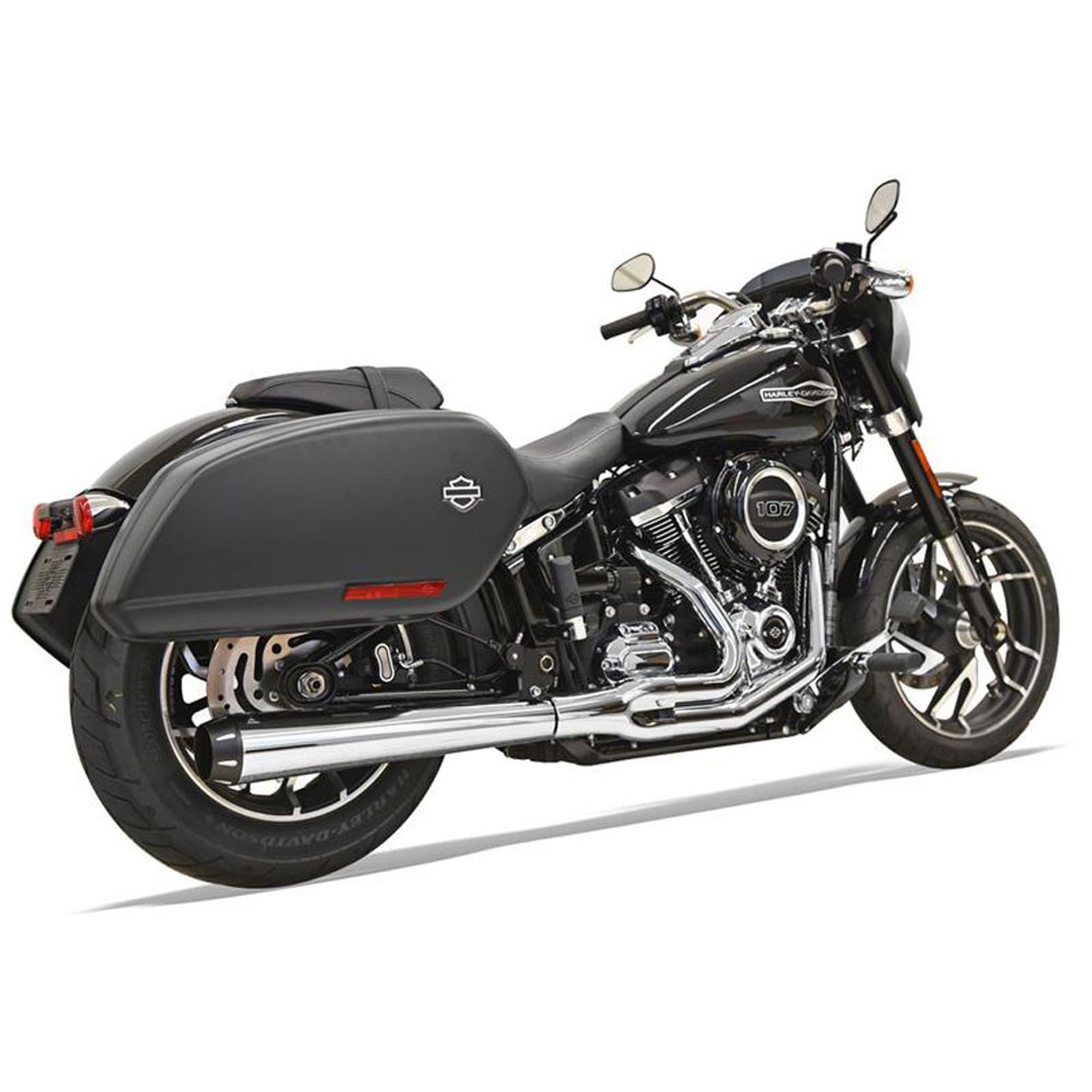 Harley Softail Bassani Touring 2 Into 1 Exhaust For 2018 Harley Softail Heritage And Deluxe Chrome